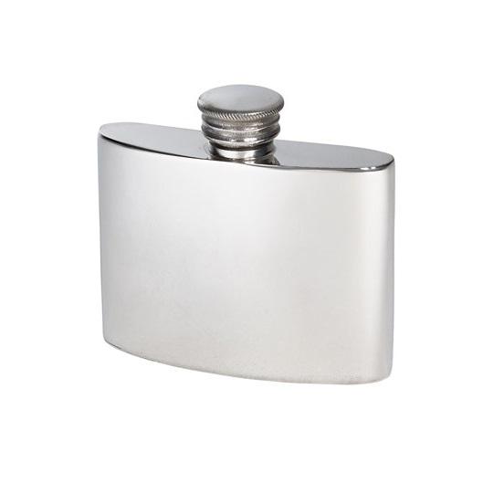 Personalised 2 oz Plain Pewter Kidney Hip Flask
