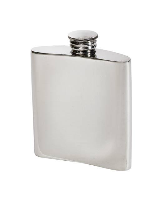 Personalised 3 oz Plain Pewter Kidney Hip Flask