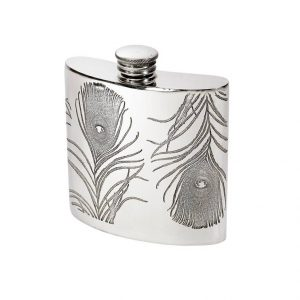 Personalised 4 oz Peacock Pewter Kidney Hip Flask