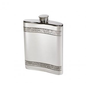 Personalised 6 oz Horizontal Celtic Bands Pewter Kidney Hip Flask