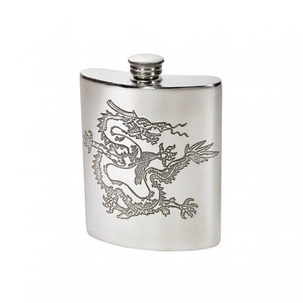 Personalised 6 oz Chinese Dragon Pewter Kidney Hip Flask