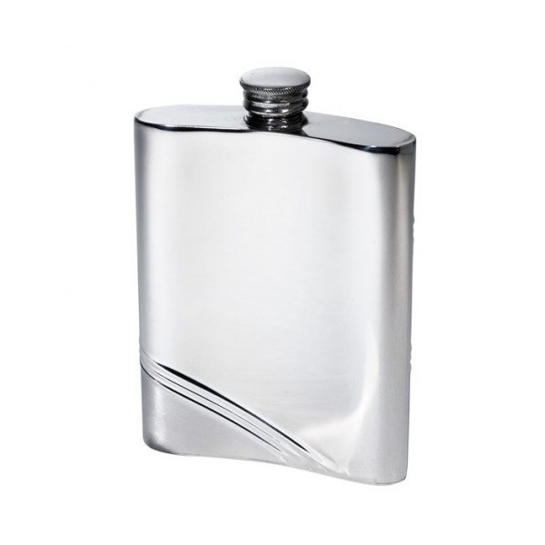 Personalised 6 oz Diagonal Stripe Pewter Kidney Hip Flask