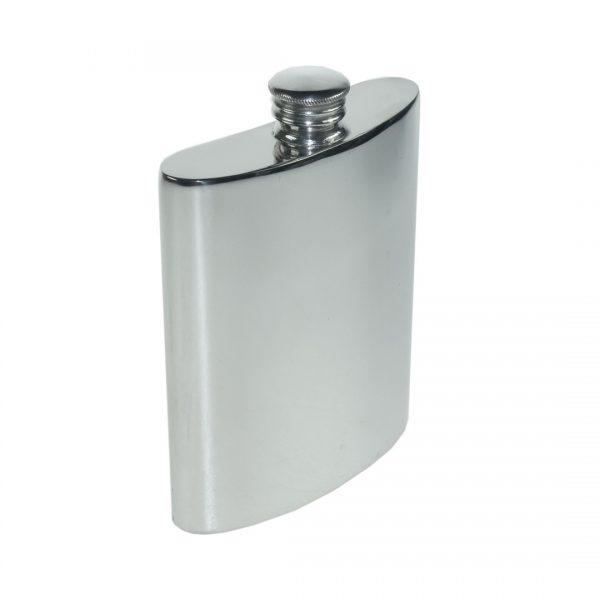 Personalised 6 oz Plain Pewter Kidney Hip Flask