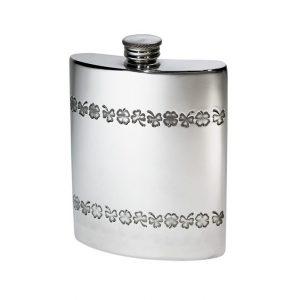 Personalised 6 oz Shamrock Pewter Kidney Hip Flask