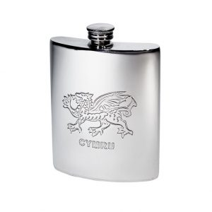 The Personalised 6 oz Welsh Dragon Pewter Kidney Hip Flask