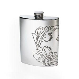 Personalised 6 oz Acanthus Pattern Pewter Kidney Hip Flask