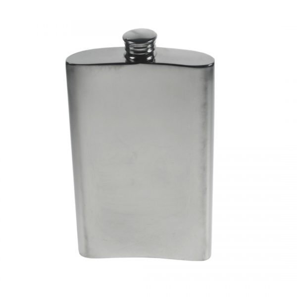 Personalised 8 oz Plain Pewter Kidney Hip Flask