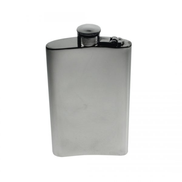 Personalised 8 oz Plain Pewter Kidney Hip Flask with Captive Top