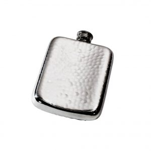 Personalised 4 oz Hammered Pewter Pocket Hip Flask