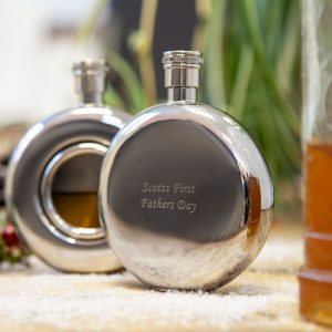 Personalised round window hip flask