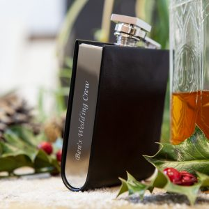 Personalised hip flask with leather detailing