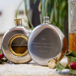 engraved round window hip flask