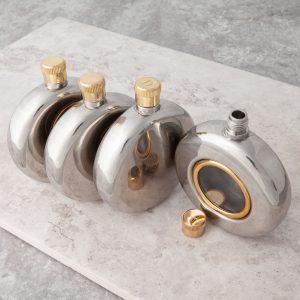 engraved round window hip flask