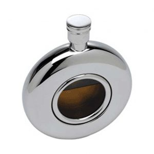 Round Window Engraved Hip Flask with Free Engraving