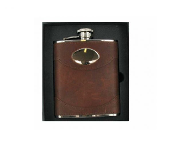 6oz Premium Spanish Leather Engraved Hip Flask with Free Engraving
