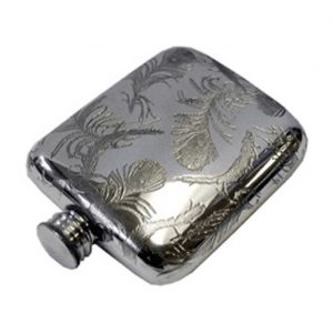 Pewter V&A Peacock Pocket Engraved Hip Flask with Free Engraving