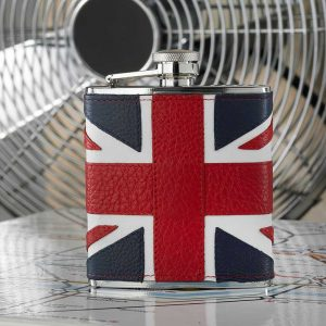 Union Jack Hip Flask in leather with presentation box
