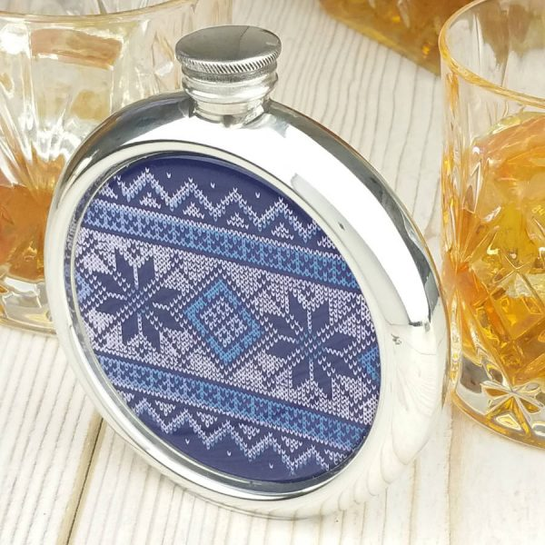 Personalised Fair Isle Christmas Hip Flask with Presentation Box