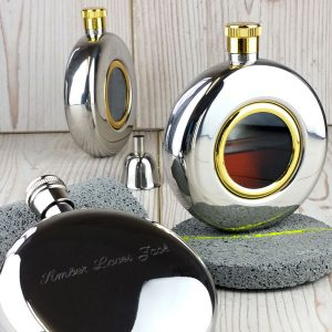 Round Window Engraved Hip Flask with Presentation Box & FREE ENGRAVING