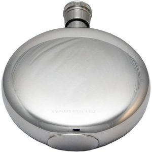 Personalised and Engraved Round Window Hip Flask with Presentation Box & FREE ENGRAVING