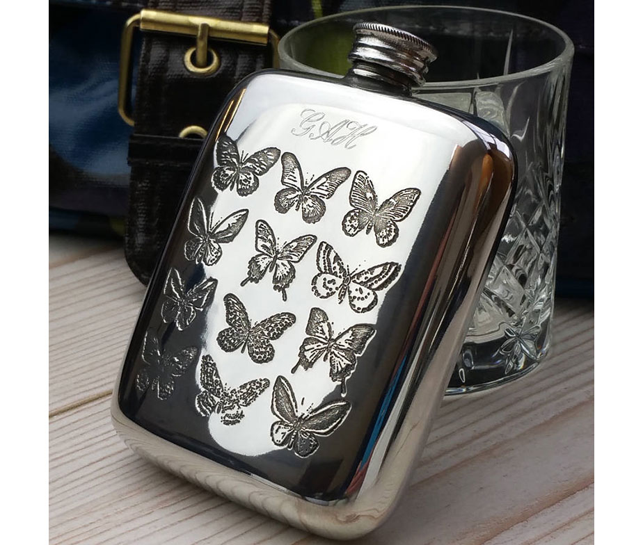 Large Butterfly Design Stainless Steel Hip Flask Gift Boxed New Free Engraving