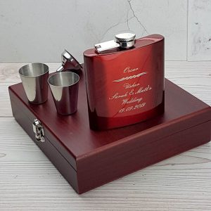 Striking personalised hip flask with gorgeous presentation box,