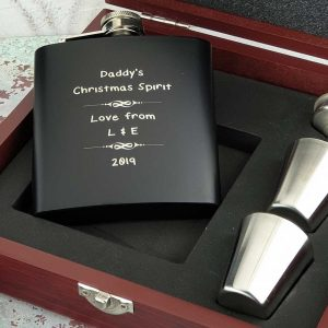 Personalised Christmas Hip Flask Set With Cups